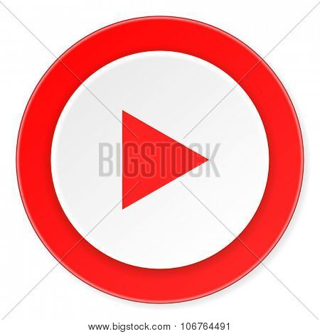 play red circle 3d modern design flat icon on white background