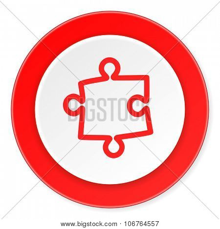 puzzle red circle 3d modern design flat icon on white background