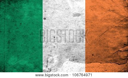 Flag of Ireland, Irish Flag painted on paper texture