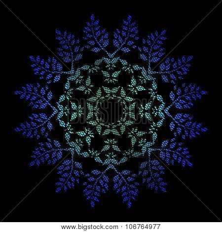 Ornamental watercolor hand drawn round floral pattern with grunge weaving texture in bright blue col