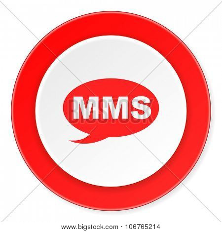 mms red circle 3d modern design flat icon on white background