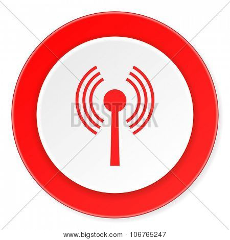 wifi red circle 3d modern design flat icon on white background