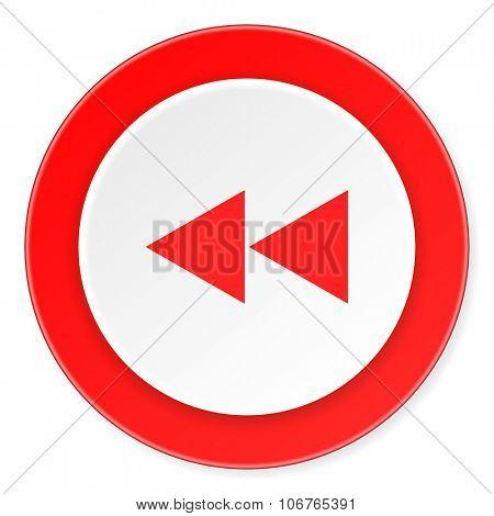 rewind red circle 3d modern design flat icon on white background