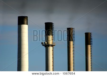 Coal Plant Chimney Emitting Pollution