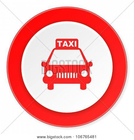 taxi red circle 3d modern design flat icon on white background