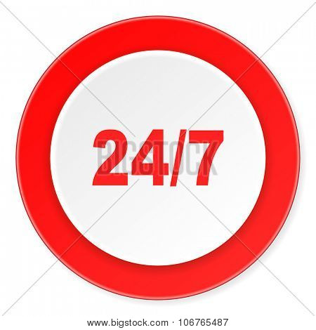 24/7 red circle 3d modern design flat icon on white background