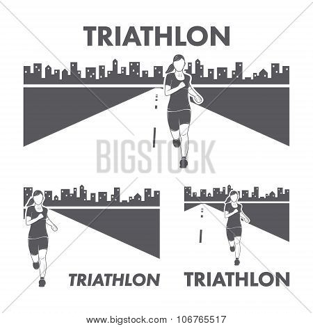 Women's Triathlon Logo And Icon. Silhouettes Of Figures Triathle