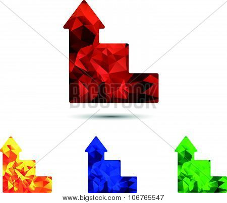 Logo image of stairs and arrow with a vector polygonal pattern on it. Set of four images in red, blu