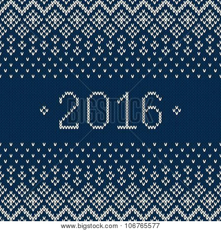 New Year 2016. Winter Holiday Seamless Knitted Pattern