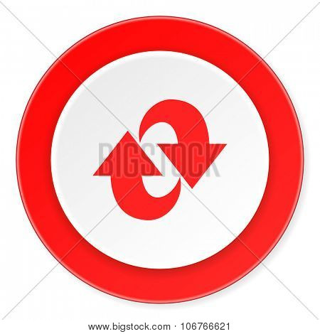 rotation red circle 3d modern design flat icon on white background