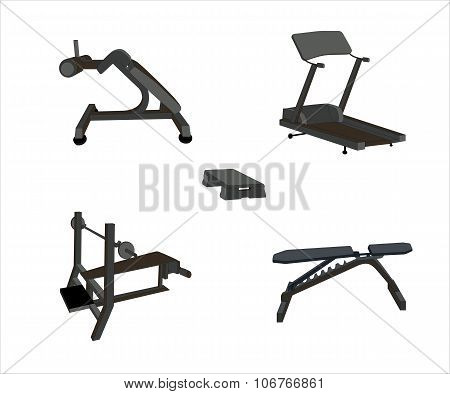 Set of Sports Trainer. Simulator. Isolated Vector Illustration.