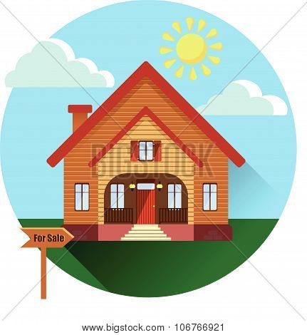 Image of a new brown siding or wooden house for sale with sunny countryside landscape. Building with