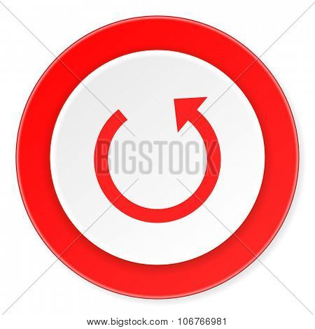 rotate red circle 3d modern design flat icon on white background