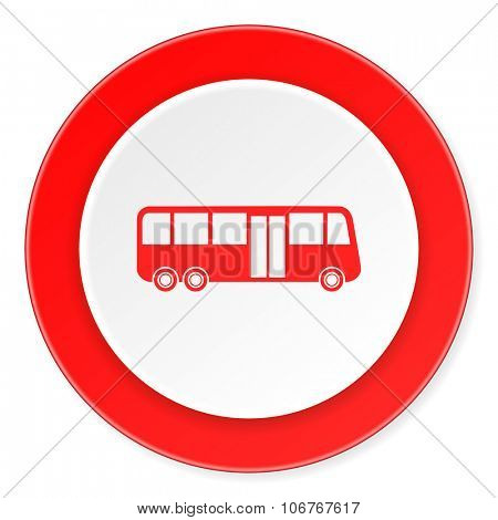 bus red circle 3d modern design flat icon on white background