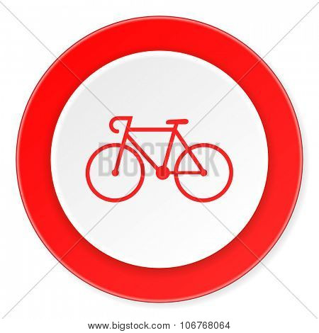bicycle red circle 3d modern design flat icon on white background