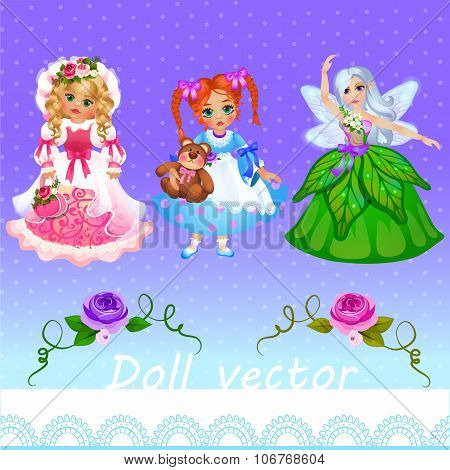 Girls doll and fairy on a purple background