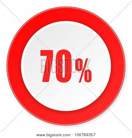 70 percent red circle 3d modern design flat icon on white background