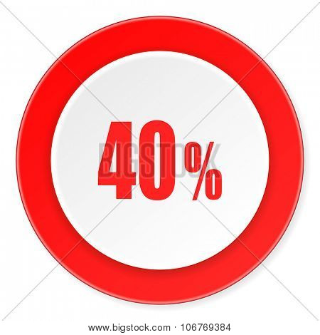 40 percent red circle 3d modern design flat icon on white background