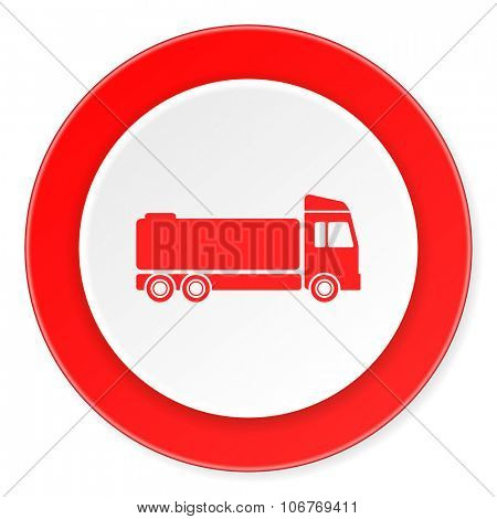 truck red circle 3d modern design flat icon on white background