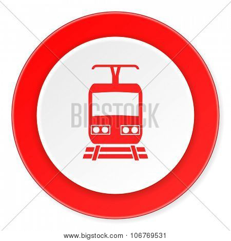 train red circle 3d modern design flat icon on white background