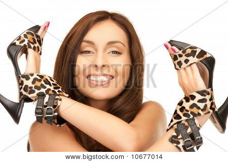 Lovely Woman With Leopard Shoes