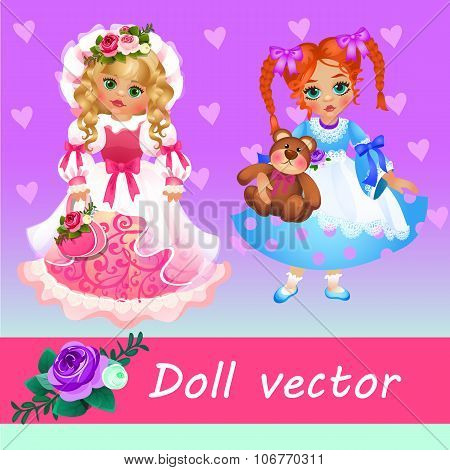 Two cute little dolls on a pink background