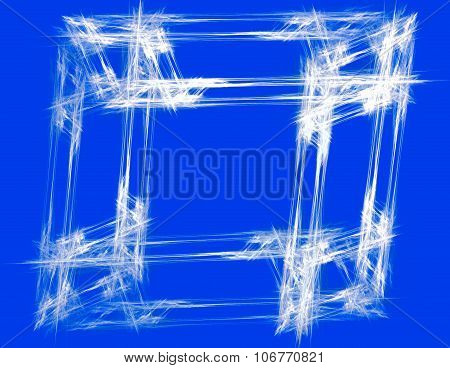 Abstract white frame with blue background