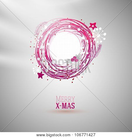 Modern bright color Xmas wreath
