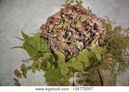 Hydrangea flower in a vase, textured