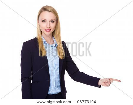 Young Businesswoman with finger point aside