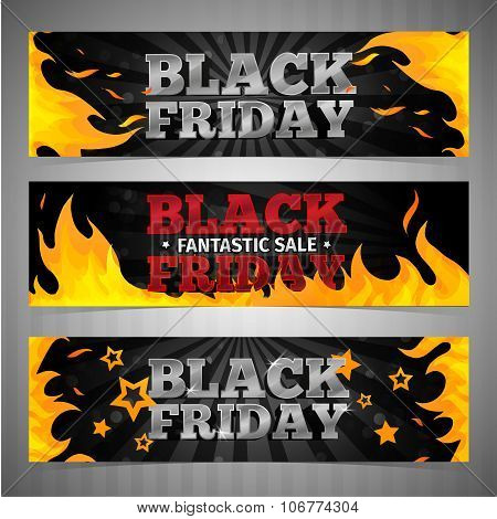A set of design templates horizontal web banners, coupon, poster for Black Friday. Volume text with