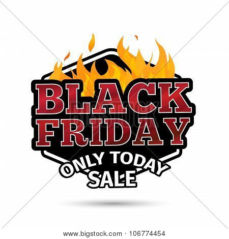 Retro logo, icon, label, sticker for Black Friday and sale. The pattern of the fire. Vector