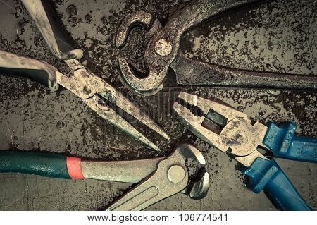 Various Tools And Instruments. Pincers, Puller, Pliers.