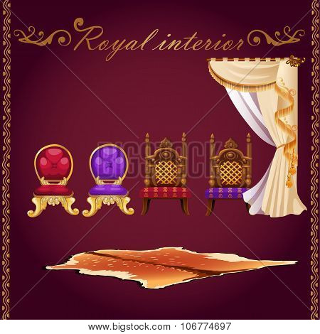 Rich interior, bear pelt, chairs and curtain
