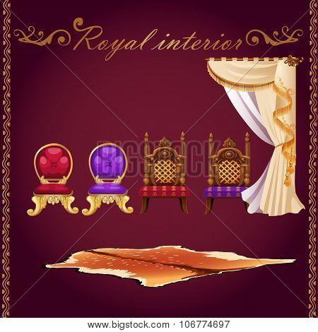 Rich interior, bear pelt, chairs and curtain