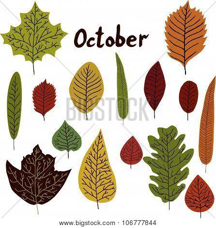 October. Set of leavs