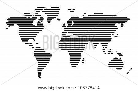 World Map In Horizontal Stripes, Bars - Abstract Vector Background.  Black And White Silhouette Illu
