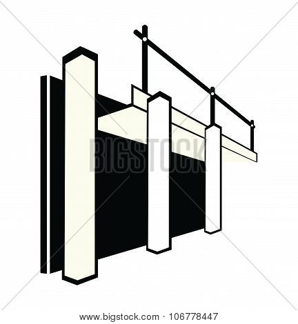 Formwork Illustration In Black And White