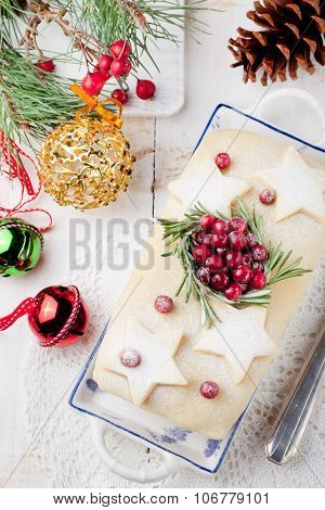Traditional Christmas Fruit Cake pudding with marzipan and cranberry