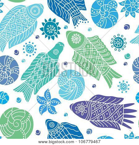 Decorative seamless background pattern with white contour drawing of fishes and shells. Textile and wallpaper sea background. Vector illustration