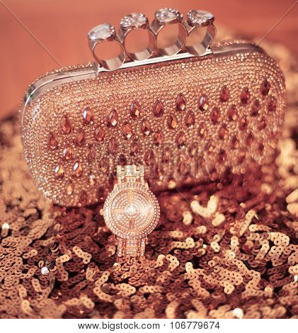 Fashion Womens Accessories. Luxury Wristwatch And Purse With Strass And Gems, On  Sequins Sparkling