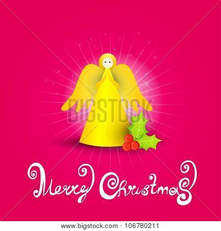 Christmas celebration angel card.