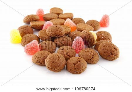 Typical Dutch Sweets: Pepernoten (ginger Nuts) For A Celebration At 5 December In The Netherlands