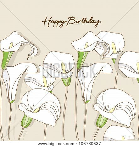 beautiful background with decorative white Calla lilies