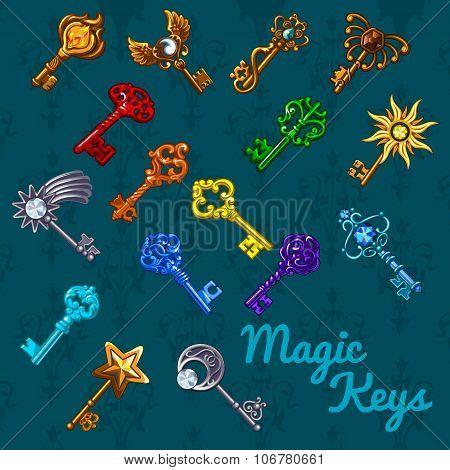 Big colorful magical set of keys