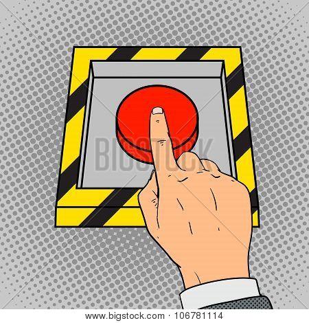 Hand push the red button pop art vector