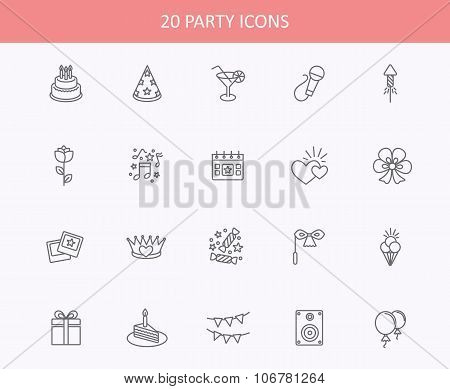 Outline web icons set - Party, Birthday, Holidays