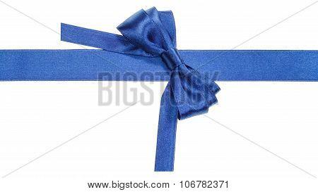 Turned Real Blue Satin Bow On Narrow Ribbon