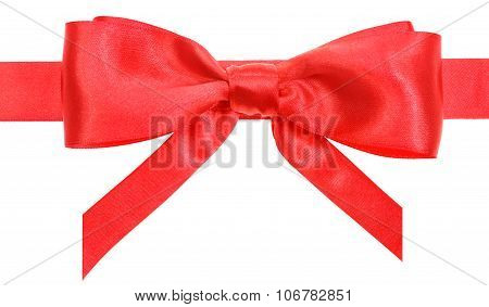 Real Satin Bow With Vertically Cut Ends On Ribbon