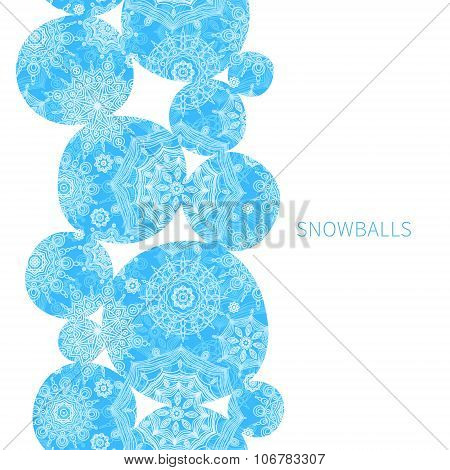 Concept Seamless Border With Snowballs.